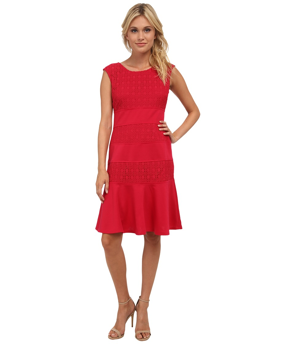 London Times - Lace Blocked Fit Flare Dress (Berry) Women