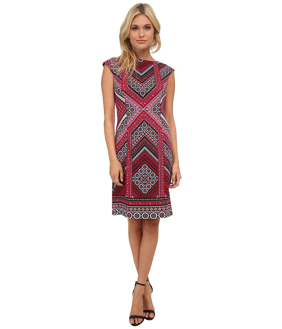 London Times - Cap Sleeve Placement Print Sheath Dress (Magenta 1) Women's Dress