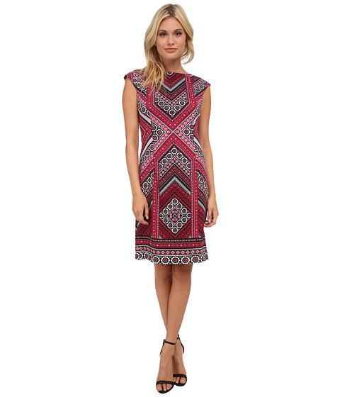 London Times - Cap Sleeve Placement Print Sheath Dress (Magenta 1) Women's Dress