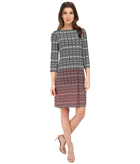 London Times - 3/4 Sleeve Printed Shift Dress (Ivory/Red) Women