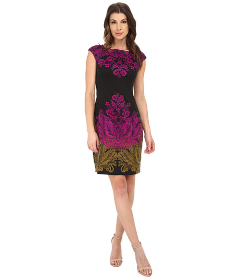 London Times - Cap Sleeve Placement Print Sheath Dress (Black/Purple) Women