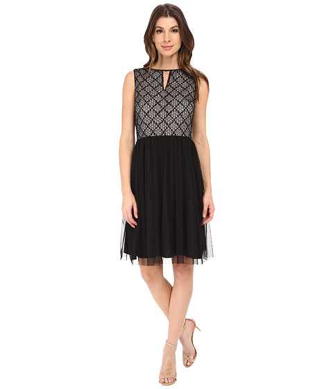 London Times - Lace Bodice w/ Full Skirt Dress (Black/Nude) Women's Dress
