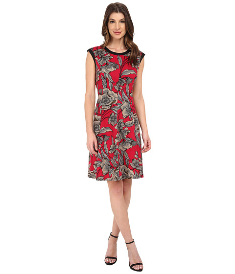London Times - Banded Neck Printed Fit Flare Dress (Berry) Women