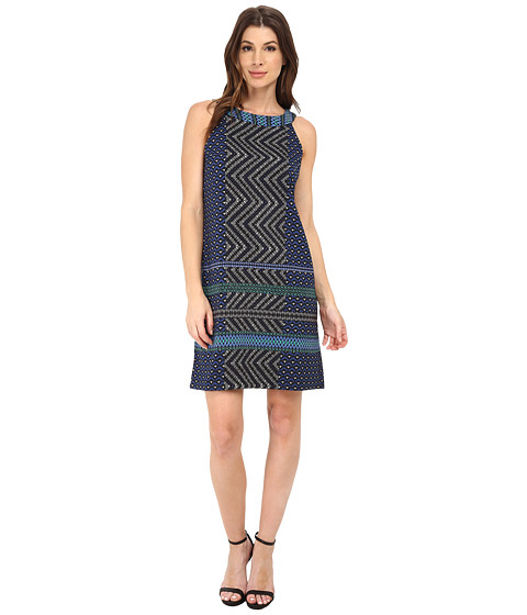 London Times - Trapeze Halter Shift Dress (Black/Blue) Women