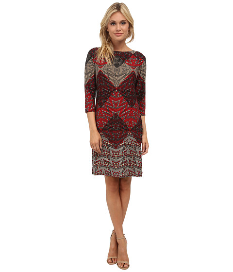 London Times - Placement Print Shift Dress (Red) Women