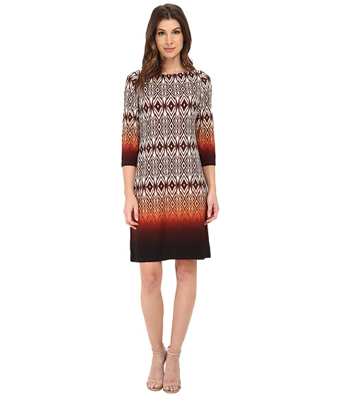 London Times - Placement Print Shift Dress (Ivory/Orange) Women