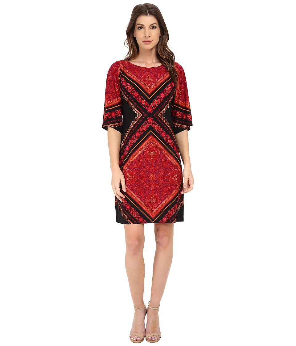 London Times - Placement Print Shift Dress (Orange) Women