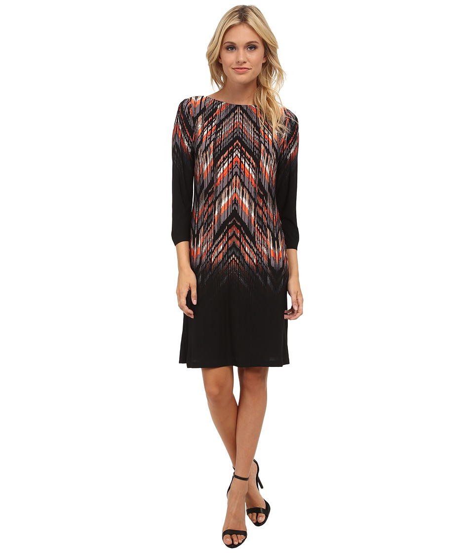 London Times - Placement Print Shift Dress (Black/Orange) Women's Dress