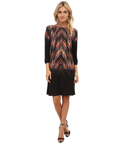 London Times - Placement Print Shift Dress (Black/Orange) Women