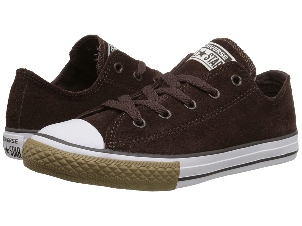 Converse Kids - Chuck Taylor All Star Suede Ox (Little Kid/Big Kid) (Burnt Umber/White) Boys Shoes