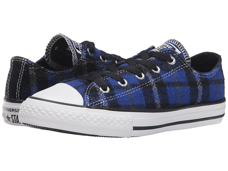 Converse Kids - Chuck Taylor All Star Plaid Ox (Little Kid/Big Kid) (Blue/Black/White) Boys Shoes