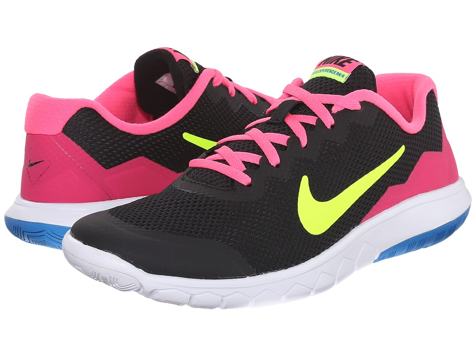 Nike Kids - Flex Experience 4 (Big Kid) (Black/Pink Pow/White/Volt) Girls Shoes