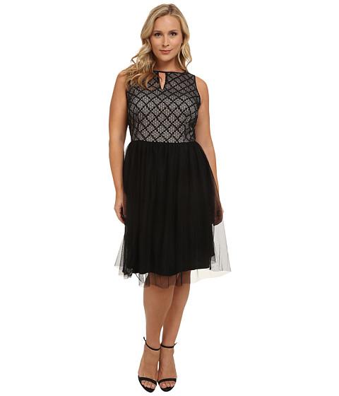 London Times - Plus Size Lace Bodice w/ Full Skirt Dress (Black/Nude) Women