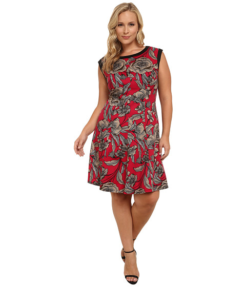 London Times - Plus Size Banded Neck Printed Fit Flare Dress (Berry) Women