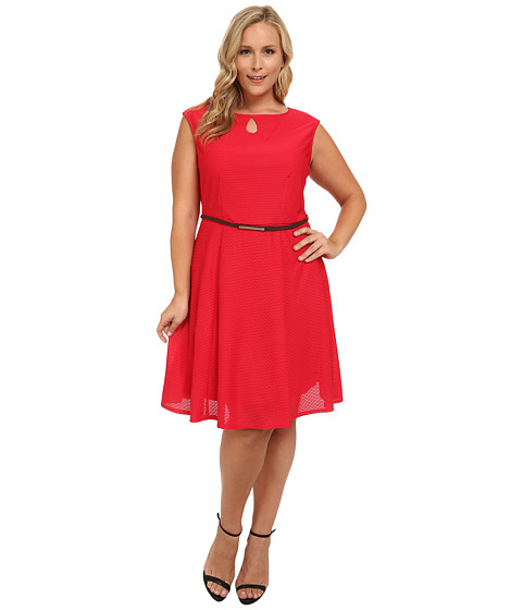 London Times - Plus Size Lace Full Skirt Dress (Red) Women's Dress