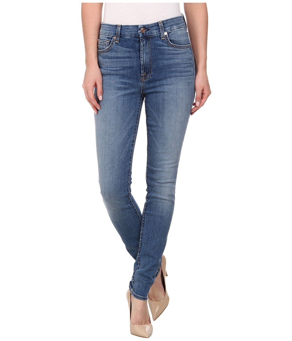 7 For All Mankind - The High Waist Skinny w/ Squiggle in Sloan Heritage Medium Light (Sloan Heritage Medium Light) Women