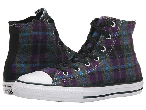 Converse Kids - Chuck Taylor All Star Plaid Hi (Little Kid/Big Kid) (Allium Purple/Cyan/Black) Girls Shoes
