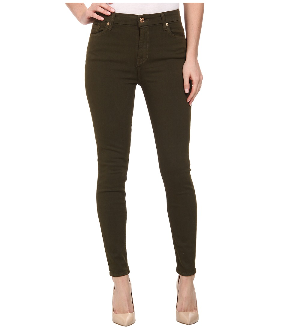 7 For All Mankind - The High Waist Ankle Skinny w/ Contour Waistband in Cadet Green (Cadet Green) Women