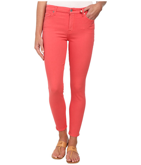 7 For All Mankind - The High Waist Ankle Skinny w/ Contour Waistband in Coral (Coral) Women