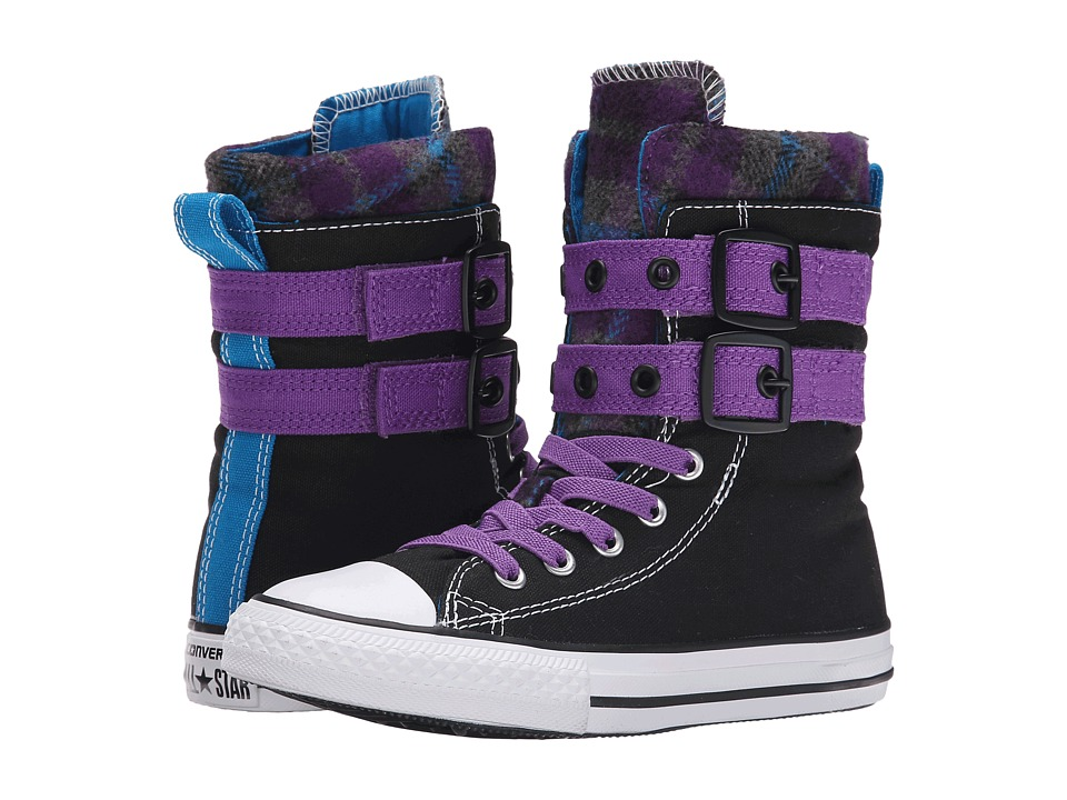 Converse Kids - Chuck Taylor All Star Glendale Xhi - Plaid (Little Kid/Big Kid) (Black/Allium Purple/Cyan) Girls Shoes