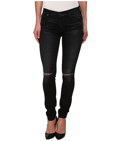 7 For All Mankind - The Skinny w/ Knee Holes in Icy Black 2 (Icy Black 2) Women