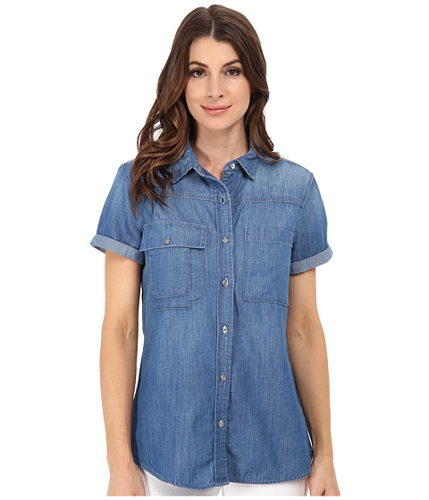 7 For All Mankind - Short Sleeve Multiple Pocket Denim Shirt (Skylight Blue) Women