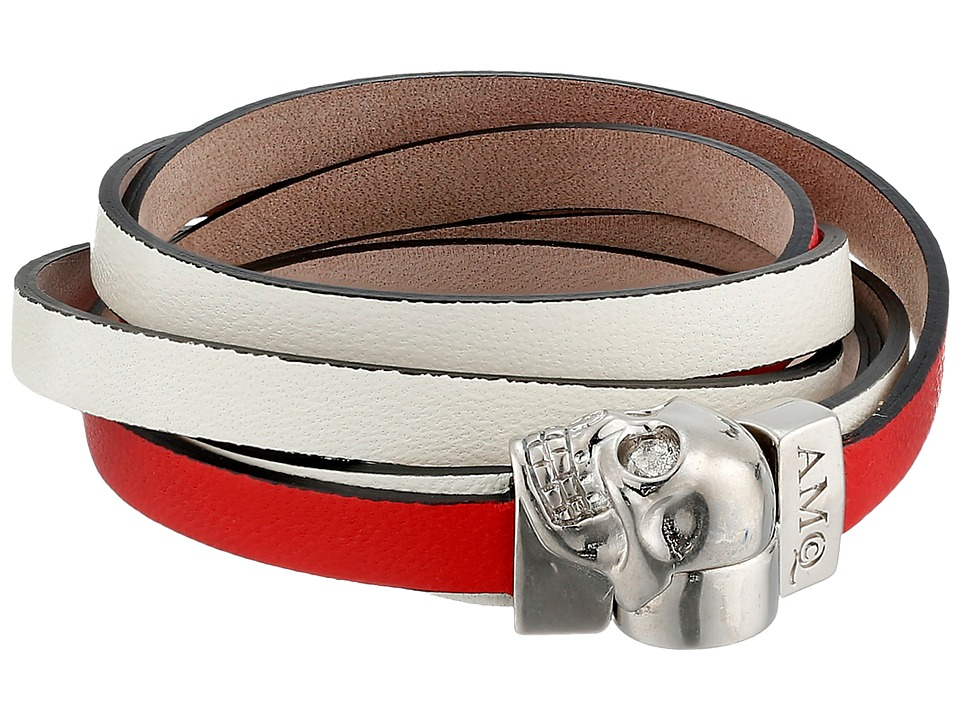Alexander McQueen - Magnet Double Wrap Skull (Red/White) Bracelet