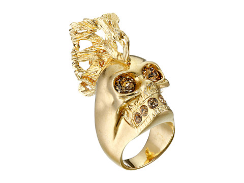 Alexander McQueen - Skull Punk Fish Small Ring (Gold/Topaz) Ring