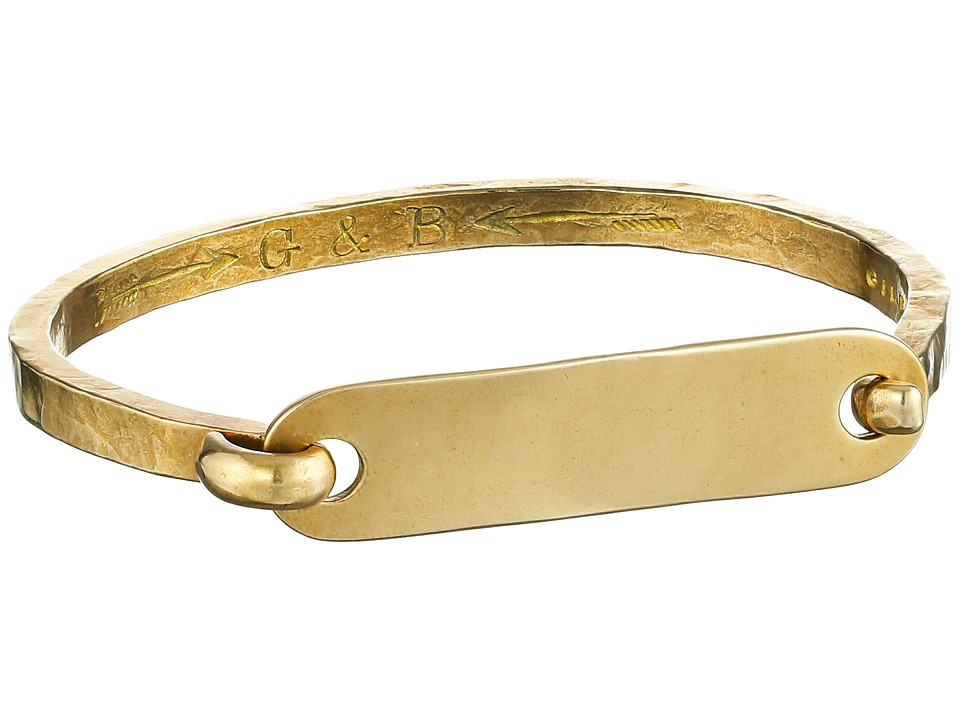 Giles & Brother - I.D. Tag with Hinge Cuff Bracelet (Brass Oxide) Bracelet