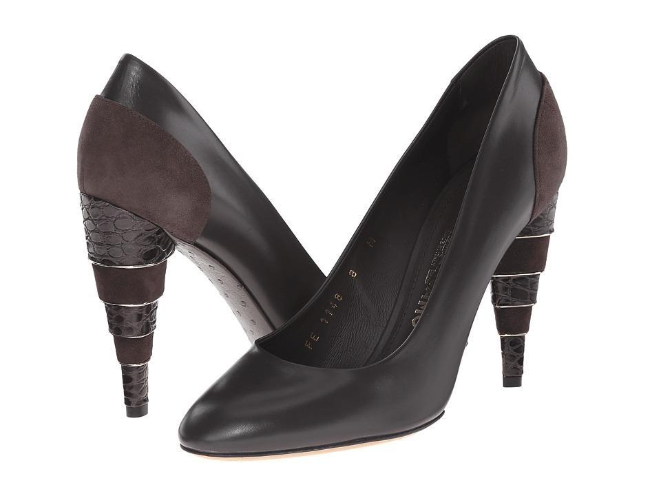 Salvatore Ferragamo Calfskin High-Heel Pump (Graphite Rubens Calf) High Heels