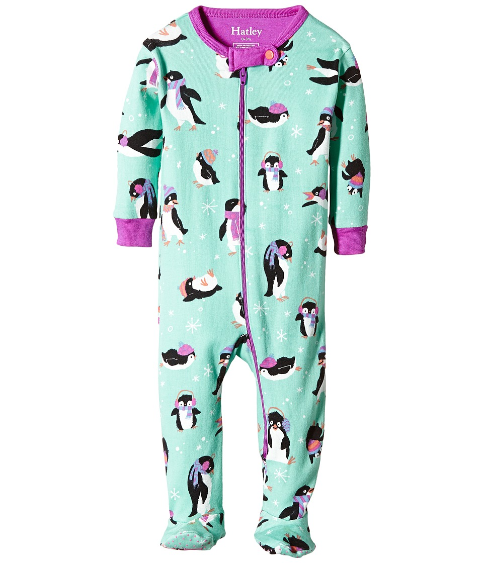 Hatley Kids - Cool Penguins Footed Coverall (Infant) (Blue) Girl's Jumpsuit & Rompers One Piece