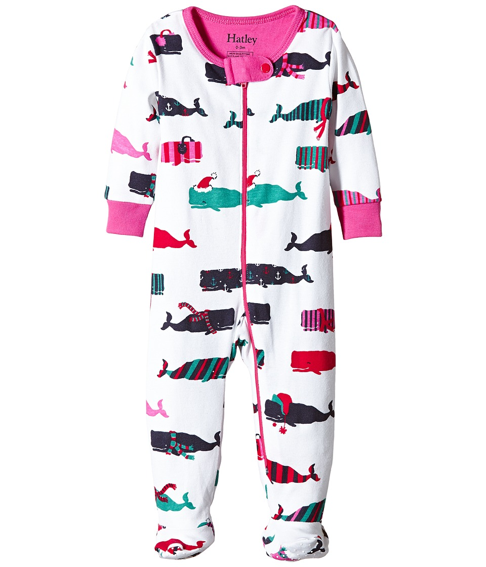 Hatley Kids - Scarf Whales Footed Coverall (Infant) (White) Girl