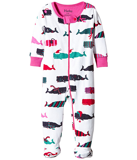 Hatley Kids - Scarf Whales Footed Coverall (Infant) (White) Girl's Jumpsuit & Rompers One Piece