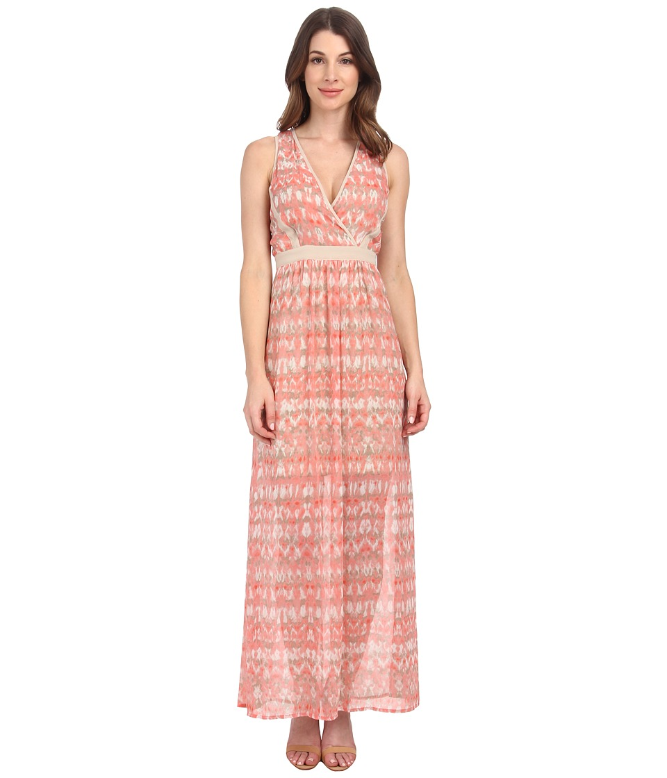 Calvin Klein - V-Neck Chiffon Dress (Porcelain Rose/Latte Multi) Women's Dress