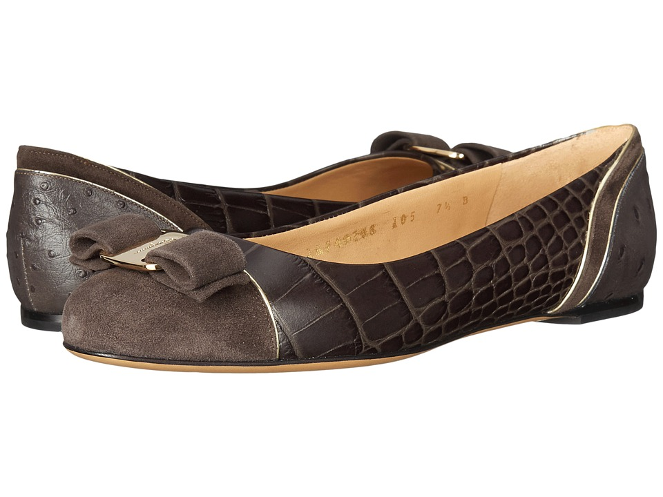 Salvatore Ferragamo - Varina Luxury (Graphite Cocco Shaghi) Women's Slip on Shoes
