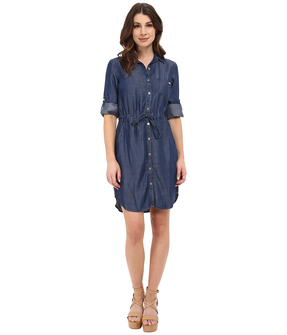 Calvin Klein - Tencel Shirtdress (Indigo) Women's Dress
