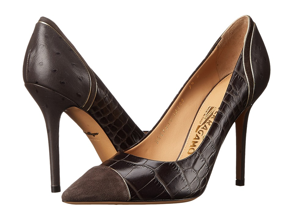 Salvatore Ferragamo Mixed Media High-Heel Pump (Graphite Cocco Shaghi) High Heels