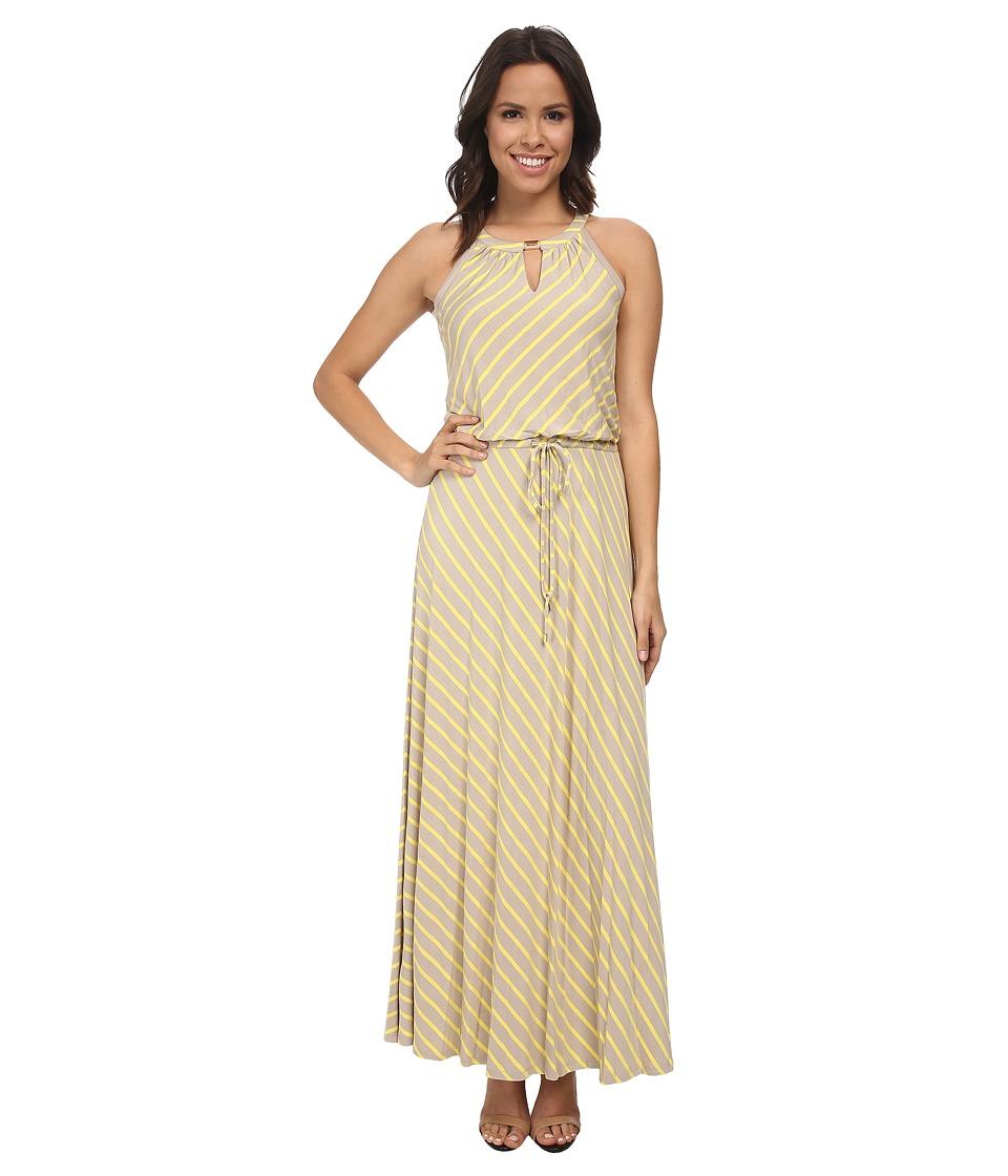 Calvin Klein - Stripe Keyhole Maxi Dress (Latte/Koi) Women