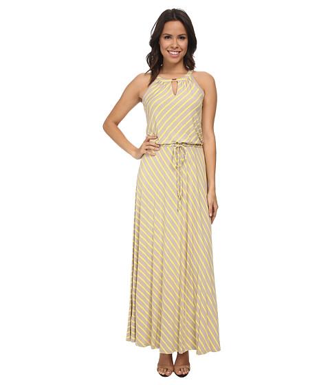 Calvin Klein - Stripe Keyhole Maxi Dress (Latte/Koi) Women's Dress