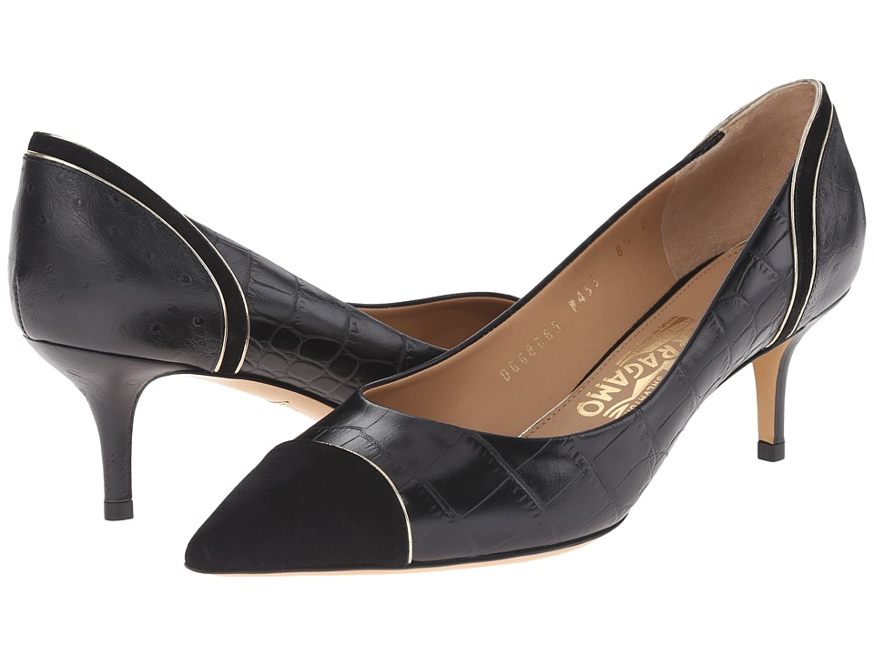 Salvatore Ferragamo Susi 55 Lux (Nero Cocco Shaghi) High Heels