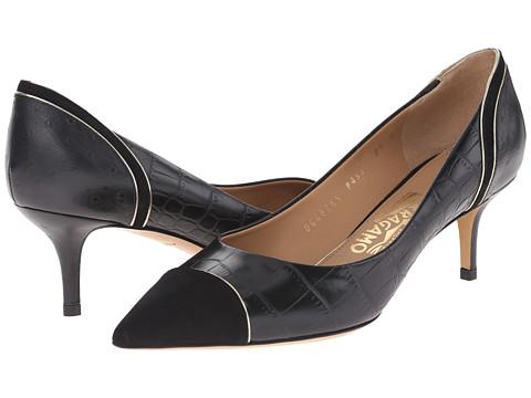 Salvatore Ferragamo - Susi 55 Lux (Nero Cocco Shaghi) High Heels