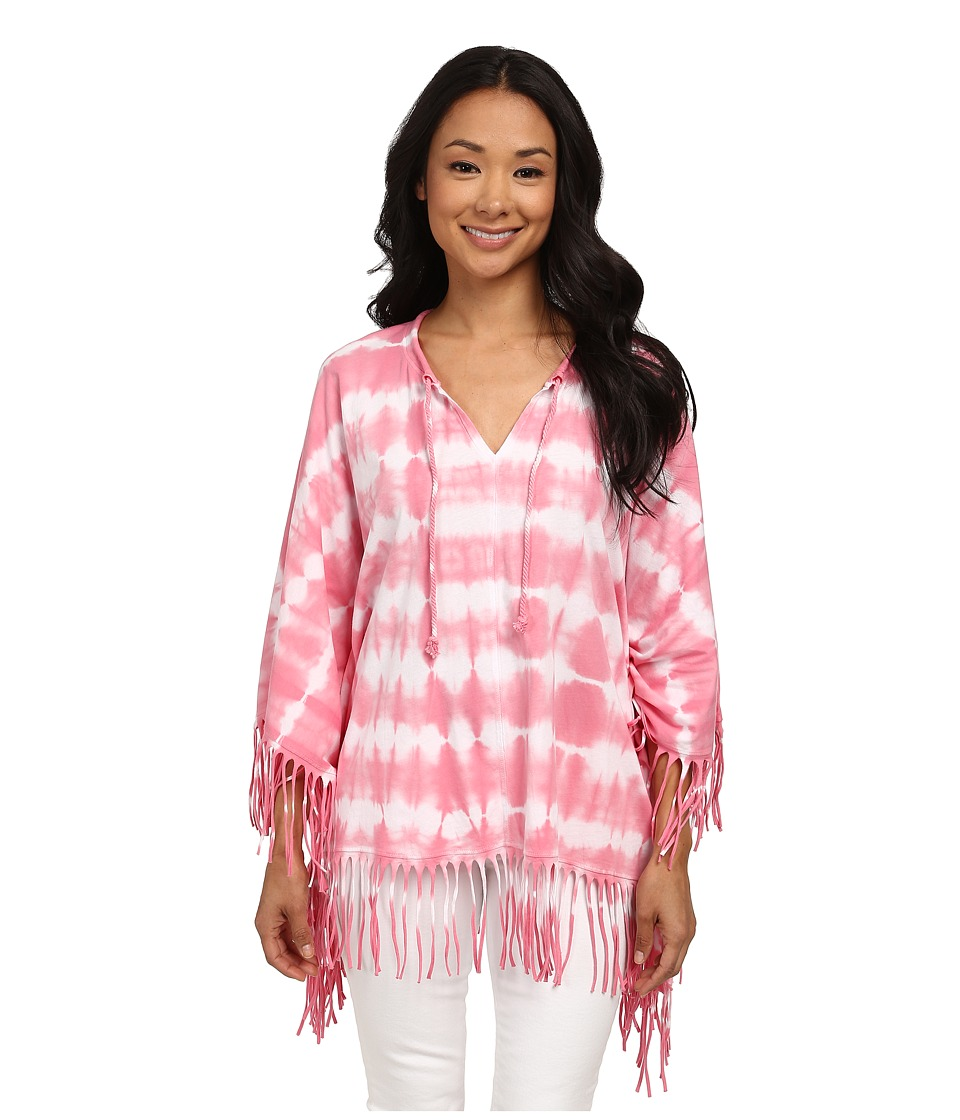 Calvin Klein - Tie-Dye Self Fringe Poncho (Watermelon/Soft White) Women's Blouse