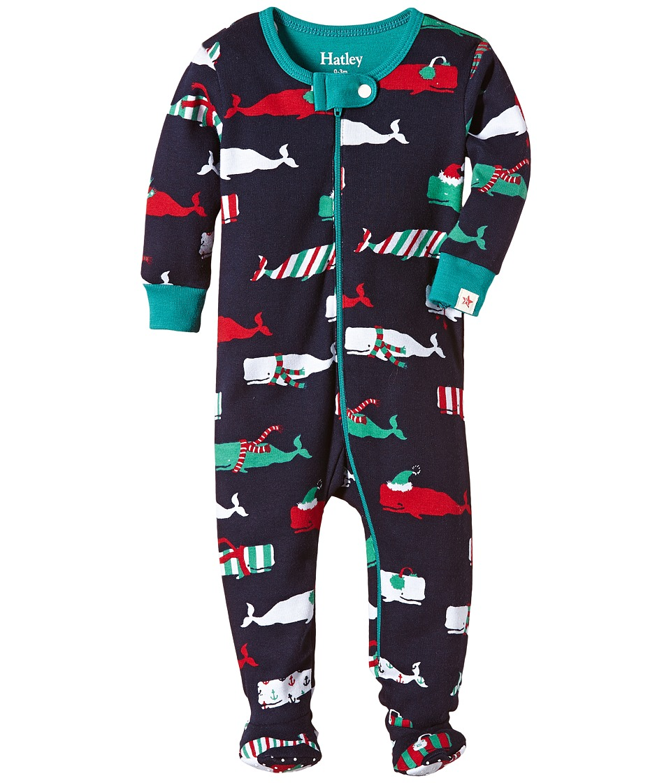 Hatley Kids - Scarf Whales Footed Coverall (Infant) (Blue) Boy's Jumpsuit & Rompers One Piece