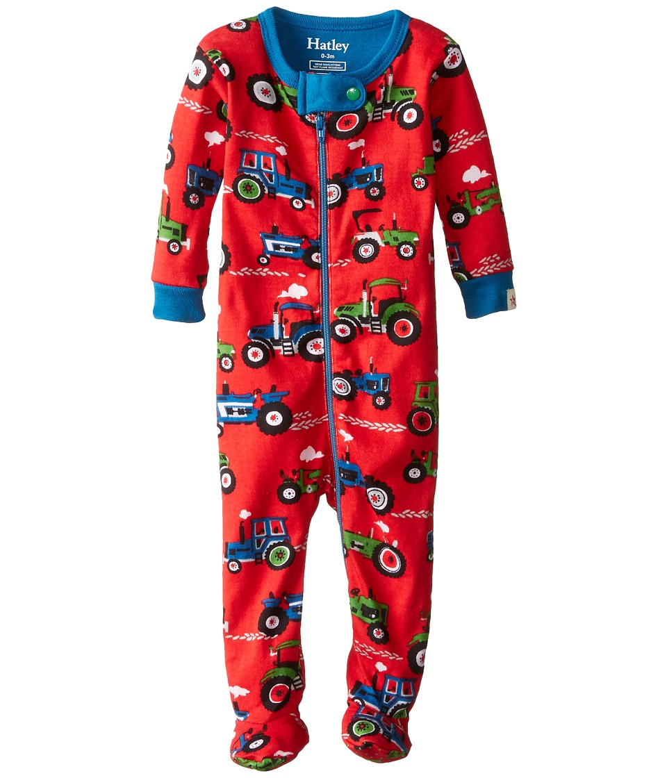 Hatley Kids - Farm Tractors Footed Coverall (Infant) (Red) Boy