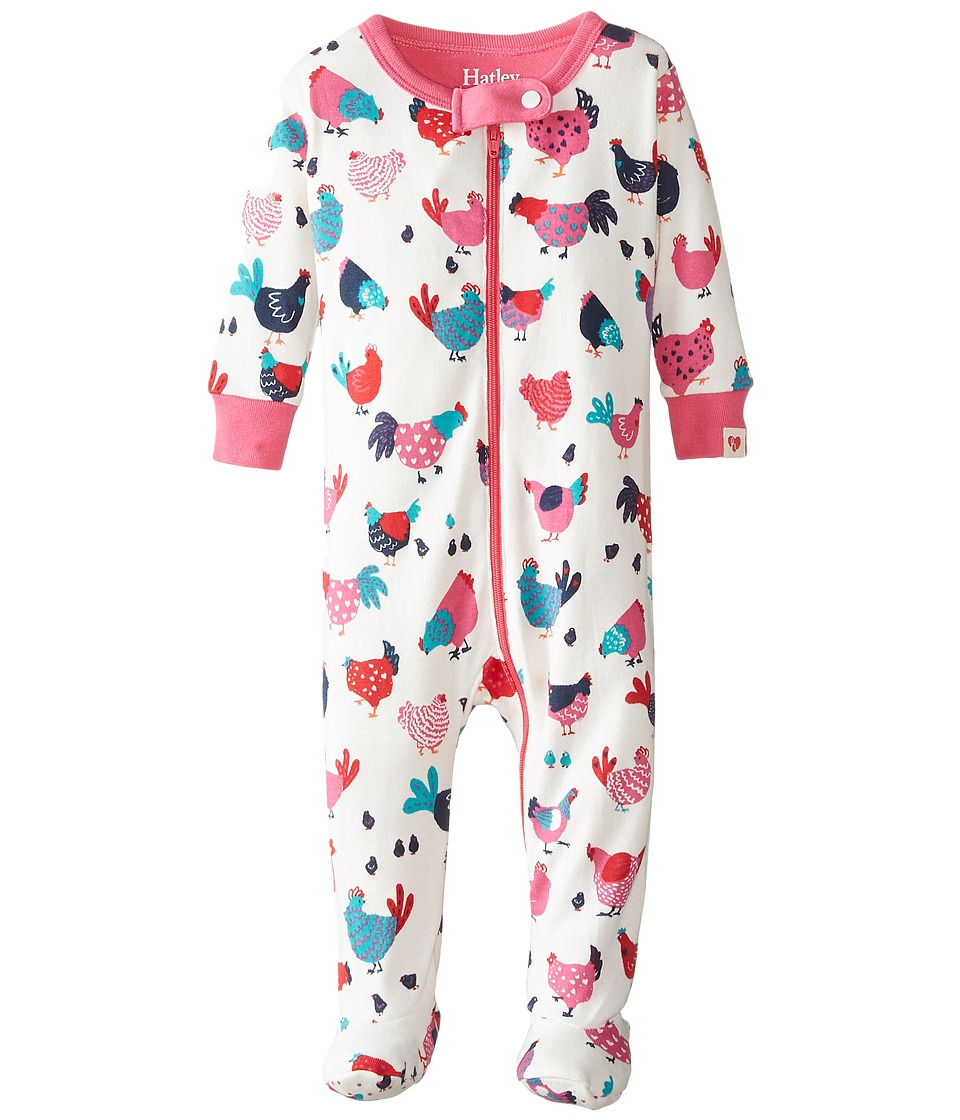 Hatley Kids - Hens Chicks Footed Coverall (Infant) (Cream) Girl's Jumpsuit & Rompers One Piece