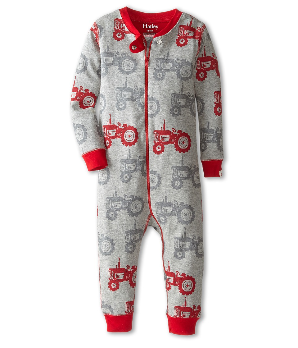 Hatley Kids - Silhouette Tractor Sleepy Romper (Infant) (Grey) Boy's Jumpsuit & Rompers One Piece