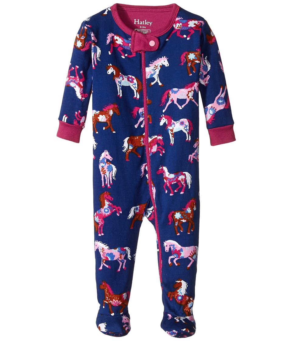 Hatley Kids - Horses Flowers Footed Coverall (Infant) (Purple) Girl's Jumpsuit & Rompers One Piece
