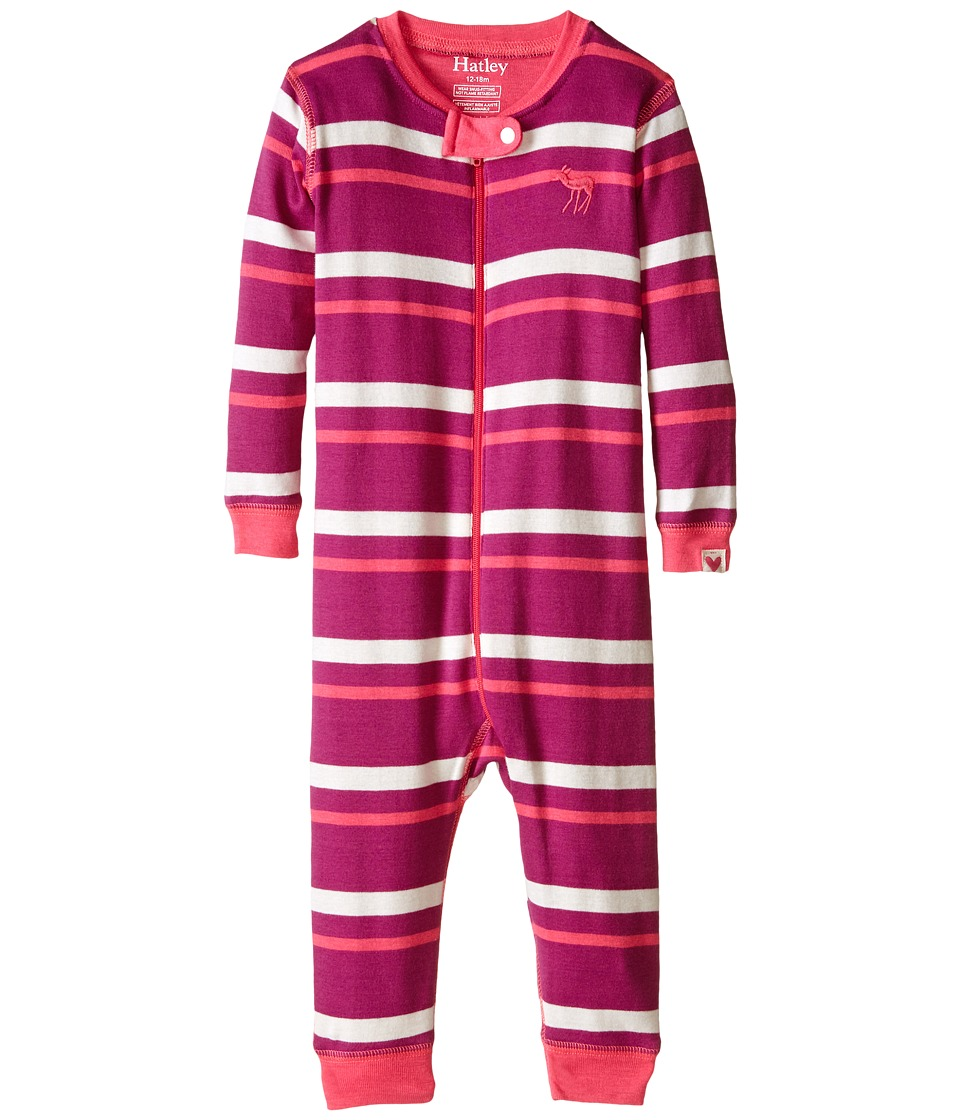 Hatley Kids - Neon Stripes Sleepy Romper (Infant) (Pink) Girl's Jumpsuit & Rompers One Piece