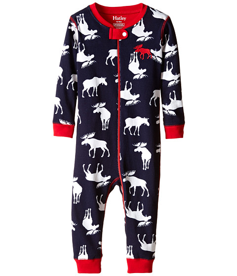 Hatley Kids - Moose Sleepy Romper (Infant) (Blue) Boy