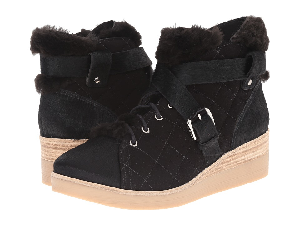 10 Crosby Derek Lam - Elsa (Black Shearling/Suede/Haircalf) Women's Zip Boots
